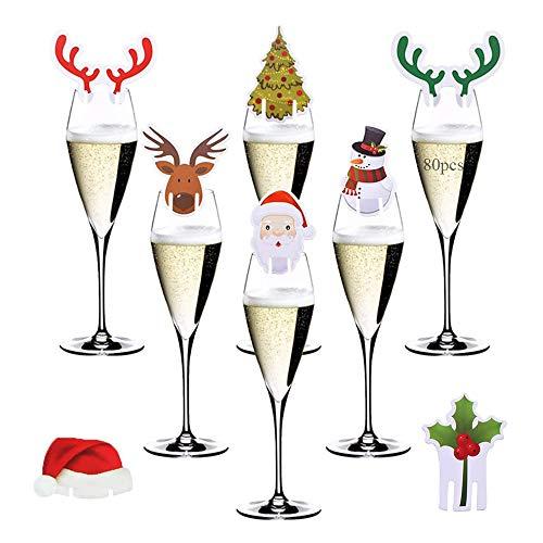 Anyingkai 80pcs Weihnachtsweinglasdekorationen,Weihnachtsweinglas Karte,Weinglas Karte,Lustige Weihnachtsdeko,Weihnachtsweinglas,Weihnachtsfeier Deko,Weihnachtsfeierbedarf