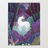 Beaxqb Pintura por números Bricolaje Unicornio del Bosque Adultos niños Pintura por número Kits Mural Decoración hogareña 40x50cmSin Marco