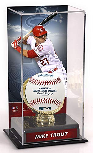 Mike Trout Los Angeles Angels Gold Glove Display Case with Image - Baseball Free Standing Display Cases