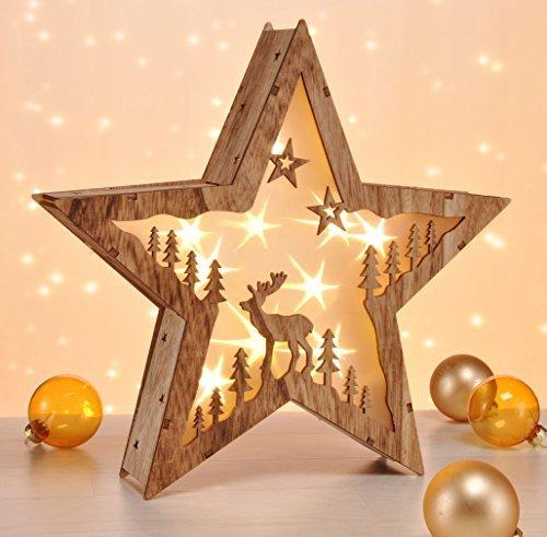 LED Dekoleuchte Stern im 3D Design - aus Echtholz - Holzstern mit 10 LED in warmweiß