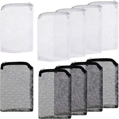 Onwon 10 Pieces Aquarium Filter Bags Fish Tank Media Mesh Filter Bags Net Bag with Zipper for Charcoal Pelletized Remove Activated Carbon, Biospheres, Ceramic Rings
