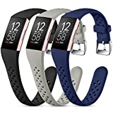 Nofeda Bands Compatible with Fitbit Charge 3/Charge 4/Charge 3 SE,Slim Soft Breathable Replacement Sport Wristband with Air Holes for Women Men,Small, Black/Navy Blue/Gray