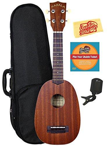 Kala MK-P Makala Pineapple Soprano Ukulele Bundle with Hard Case, Tuner, Strap, Fender Play, Austin Bazaar Instructional DVD, and Polishing Cloth