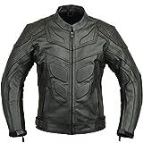 Batman Style Veste de Protection Moto en Cuir,Noir,L