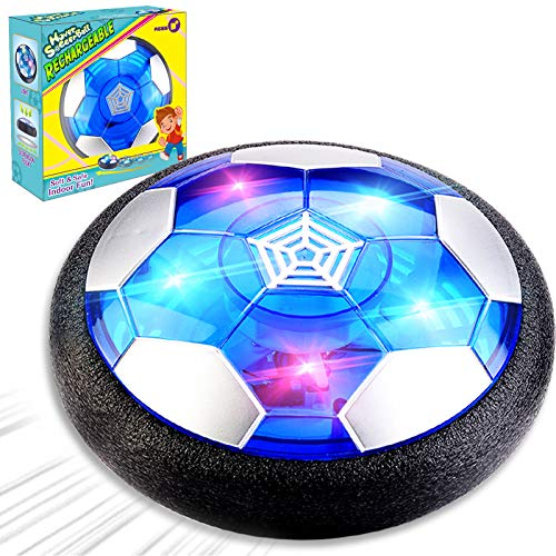 Camlinbo Kids Soccer Toys, Rechargeable Hover Soccer Ball Air Floating Soccer for Boy Girl Age 3-12 LED Light Up Toy Foam Bumper Xmas Indoor Outdoor Game for Kids Toddler (Black)