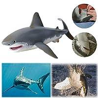 海洋動物シミュレーションサメモデルソリッドスタティックホオジロザメオーナメント男の子と女の子の誕生日プレゼントに最適(Great White Shark)