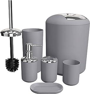 TEKITSFUN Bathroom Accessories Set 6 Pieces Plastic Bathroom Accessories Toothbrush Holder, Rinse Cup, Soap Dish, Hand San...