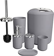 Soeland Bathroom Accessories Set Gray, 6 Pieces Plastic Bath Accessories Luxury Bathroom Set Includes Toothbrush Holder, Toothbrush Cup, Soap Dispenser, Soap Dish, Toilet Brush Holder,Trash Can