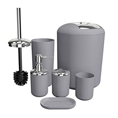 Soeland Bathroom Accessories Set Complete, 6 Piece Plastic Gifts Set Includes Lotion Bottles, Toothbrush Holder, Tooth Mug, Soap Dish, Toilet Brush, Trash Can, Rubbish Bin (Grey)