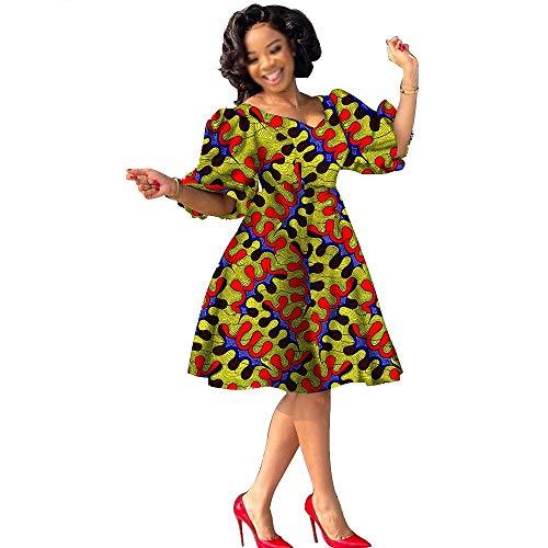 Privado Personalizado Más Tamaño Africano Vestidos Ankara Impresión Ropa Vestido De La Rodilla V-Cuello De La Manga De Puff Bazin Riche Trajes - beige - XX-Small