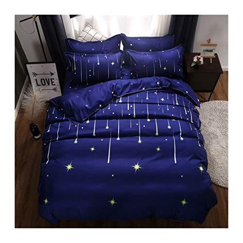 TYLJ MYBHD Estrella Azul de la Tela Escocesa de 4 Piezas de Hoja de Cubierta Colcha Cubierta del edredón y Funda de Almohada Colcha de Cama (Color : 61047 004, Size : Single 3pcs 150x200)