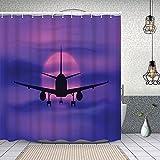 Duschvorhang,Flugzeug im verträumten Sonnenuntergangshimmel-Urlaubs-Urlaubsthema,Enthält 12 Duschvorhanghaken waschbar,Wasserdicht Bad Vorhang für Badezimmer Badewanne 150X180cm