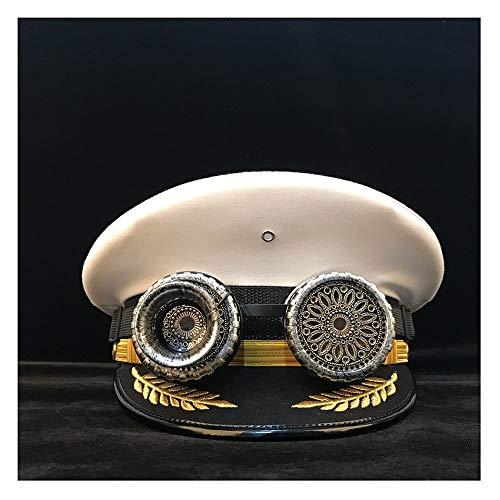 LHZUS Sombrero retro para mujer y hombre Steampunk, visera de Steampunk, gorra de Steampunk, disfraz cortical de cosplay (color: negro, tamaño: 61 cm)