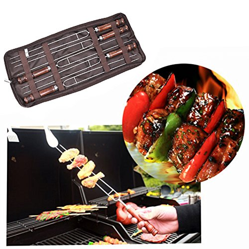 Best Review Of Rechel 5 PCS Stainless Steel BBQ Meat Grill Fork, Roasting Sticks Smores Skewers, Fun Camping Cookware Perfect for Patio Fire Pit & Campfire Cooking for Kids and Adults