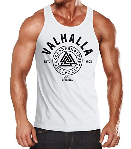 Neverless Herren Tank-Top Valhalla Runen Vikings Wikinger Muscle Shirt weiß XL