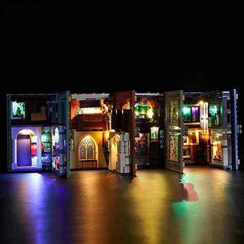 Juego De Luces LED De Control Remoto para Lego 76382/3/4/5, Juego De Luces USB Decorativas para Bricolaje Compatible con El Libro Mágico De Harry Potter (No Incluye El Modelo)