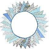 Süße Beidseitig Wimpel Girlande, 10M Bunting Wimpelkette Stoff Stoffgirlande mit 36 STK Farbenfroh Wimpeln für Hochzeits Geburtstag Party (Blau)