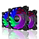 CP3 120mm RGB Case Fans for Gaming PC CPU Cooling Fans Water Cooling Fans, Silent & Long Life LED Computer Case Fans-3Pack, FP-120