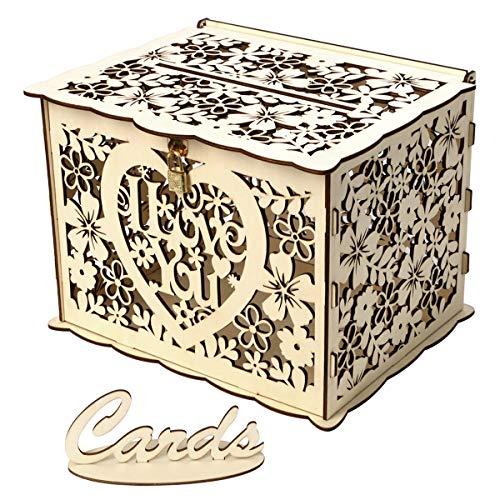 MASUNN Diy bruiloftsgeschenkdoos houten gelddoos met slot mooie decoratie benodigdheden voor verjaardagsfeest, L, 1