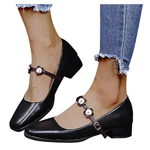 VESNIBA Sandalias de mujer con tacón alto, tacón de punta, tacón de bloque con correa en el tobillo, tacón medio cerrado, zapatos Mary Janes Negro 42