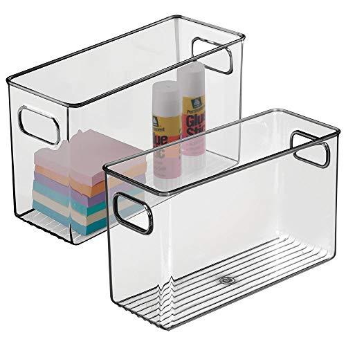 mDesign 2er-Set Aufbewahrungsbox mit integrierten Griffen – zur Aufbewahrung von Küchen-, Badezimmer- oder Büroutensilien – Kunststoffbox für die Schreibtischablage – grau
