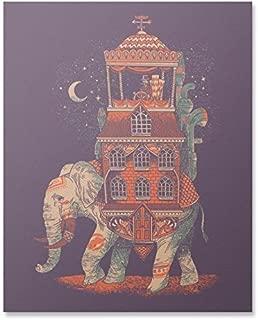 Elephant Art Print Bohemian Africa Animal Wall Art Fantasy World Traveler Poster Asia India Surreal Purple Home Decor 8 x 10 inches