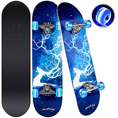 "Wemfg Skateboard for Kids Adults Teens, 31""x8"" Complete Skateboards,7 Layer Canadian Maple Double Kick Deck Concave Standard Skate Boards Skateboard for Girls Boys Youths Beginners"