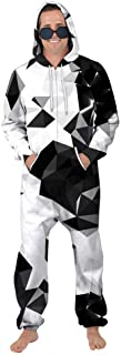 Fansu Unisex Mens Print Onesie Zip Up All in One Hooded Jumpsuit, Adult Stylish Playsuit Hoodie Warm Pajama Nightwear Plus...