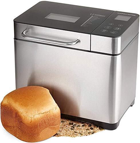 Andrew James Breadmaker with Gluten-Free & Sourdough Settings | Fresh Bake Digital Bread Maker with 17 Preset Functions & automatic Ingredients Dispenser | Delay Timer & Keep Warm