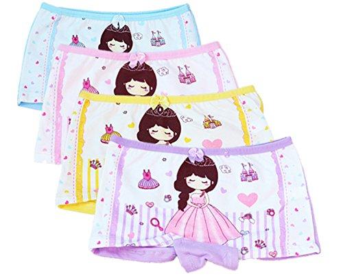 FAIRYRAIN FAIRYRAIN 4 Packung Baby Kleinkind Mädchen Princess Girl Pantys Hipster Shorts Spitze Baumwollunterhosen Unterwäsche 2-4 Jahre