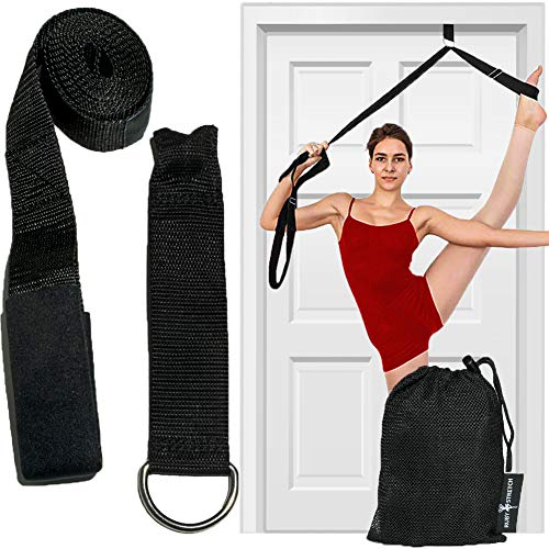 Leg Stretcher Strap, Door Stretch Strap for Flexibility, Adjustable Strap with Door Anchor to Improve Leg Stretching - Door Flexibility Trainer Band with Carrying Pouch for Dance, Cheer, Ballet Black