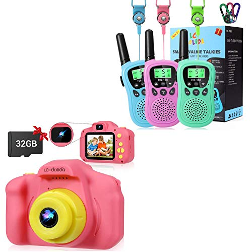 Walkie Talkies for Kids+Kids Camera, Outdoor Toys Adventures Camping Toys Best Gifts for Boys Girls 3-12 Year Old Children Kids