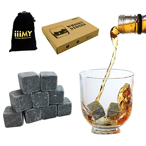 Whisky Stones Drinking Rocks Chilling Stones in Gift Box with Velvet Carrying Pouch, Design for Whisky, Scotch, Spirit Lovers, Gift Idea for Christmas and Birthday - iiiMY