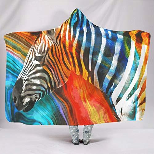 Zebra Tiere Kuscheldecken mit Kapuze Kapuzendecke Sofadecke Couchdecke Schlafdecke Plüschdecke Tagesdecke Flauschige Decke für Erwachsene Kinder White 130x150cm