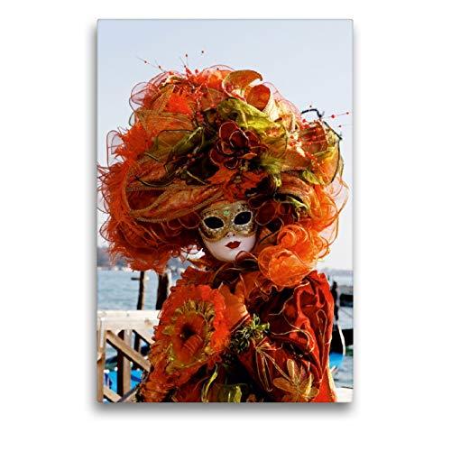 Premium Textil-Leinwand 50 x 75 cm Hoch-Format Karneval in Venedig - Phantasievolle Masken | Wandbild, HD-Bild auf Keilrahmen, Fertigbild auf hochwertigem Vlies, Leinwanddruck von Erika Utz