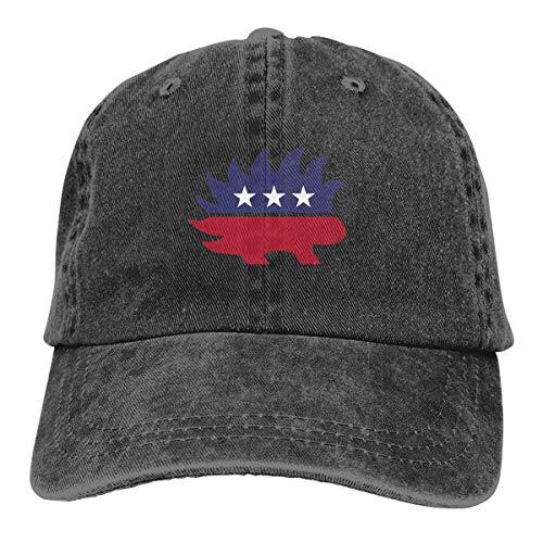 IIFENGLE Gorra de béisbol Retro para Adultos Sombrero de Vaquero Deportivo Sombrero Unisex para Exteriores Sombrero de Camionero Negro Libertarian Porcupine