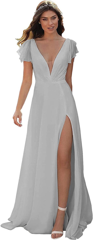 BONOYURY Women's バーゲンセール Deep V-Neck A-line Lon Bridesmaid ご注文で当日配送 Chiffon Dress