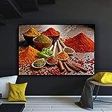 Pintura sin Marco Granos y Especias Cuchara Chile Lienzo Carteles e Impresiones Restaurante ComidaCGQ5312 30X45cm