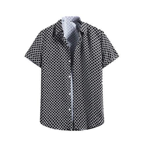N\P Sommer Kurzarm Kleid Hemd Casual Button Down Büro Arbeitskleidung Homme Gr. M, Schwarz