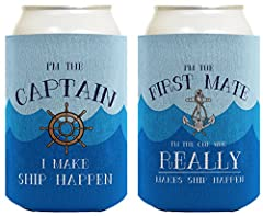 A great birthday gift for a boater, or cute nautical anniversary gift. Premium full color sublimation printing creates vibrant and long lasting colors. Holds 12 oz cans or 12-16 oz bottles. Folds flat for easy storage. Machine washable. Premium 1/8 i...