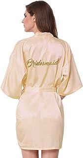 f956e52daf JOYTTON Satin Kimono Wedding Party Getting Ready Robe with Gold Glitter