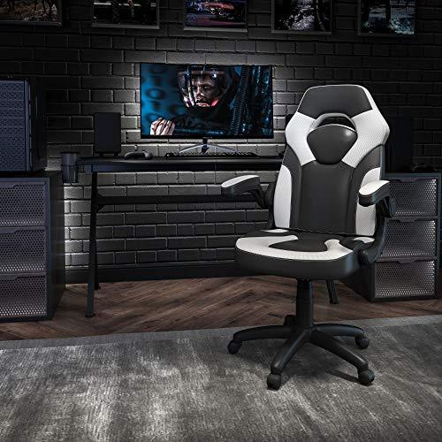 Flash Furniture X10 Gaming Chair Racing Office Ergonomic - Silla giratoria Ajustable para Ordenador, con Brazos abatibles, Color Blanco y Negro