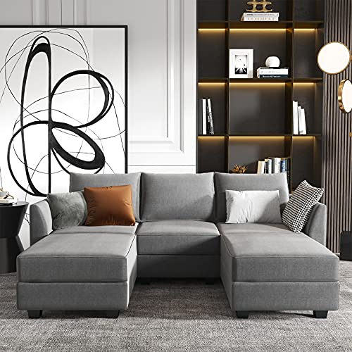 HONBAY Modular Sectional Sofa with Double Chaises U Shaped Sofa for Living Room Sectional Couch with Reversible Ottomans, Grey