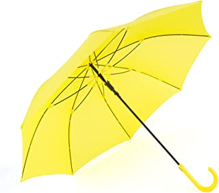 Yellow Umbrella Auto Open with J Hook Handle, 50IN Stick Umbrellas Windproof