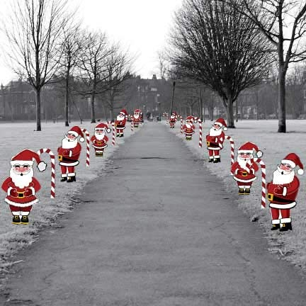 Jolly Santa & Candy Cane Pathway Markers