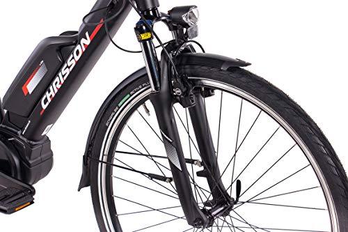 CHRISSON 28 Zoll Herren Trekking- und City-E-Bike – E-Rounder schwarz matt – Elektro Fahrrad Herren – 9 Gang Shimano Deore Kettenschaltung – Pedelec mit Bosch Mittelmotor Active Line 250W, 40Nm Bild 4*
