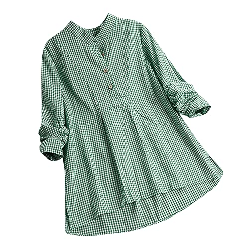 Dames herfst en winter tops dames lange mouwen print button omslagkraag overhemden blouses tops, T-shirts voor dames, herfst en winter blouse, groen, M