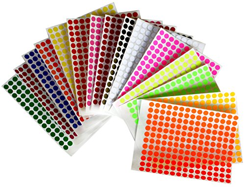 Aufkleber Bunt 8 mm runde Punkt Klebepunkte – in verschiedenen Farben Größe 0,8 cm Durchmesser Etiketten 2688 Vorteilspack von Royal Green