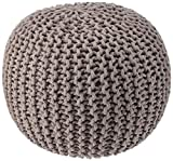 """REDEARTH Round Pouf Bean Bag Ottoman - Foot Stool Hand Knitted - Cord Boho Pouffe - Poof Accent Beanbag Chair Footrest for The Living Room, Bedroom, Nursery, Patio, Lounge (19""""x19""""x14""""; Taupe)"""