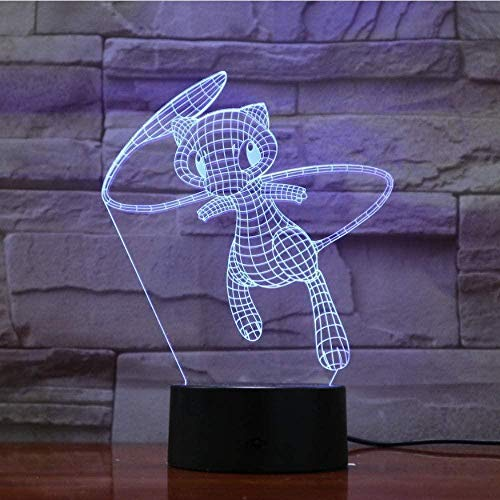 3D-schuiflicht Led-nachtlampje, Game Pokemon Fantasy Cartoon Kleurrijk 3d-nachtlampje Super schattige pop Babyvoeding Baby Led-bureaulamp
